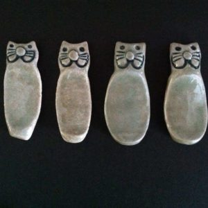 Vegan Pottery Cat Chopstick Holders Set of Four