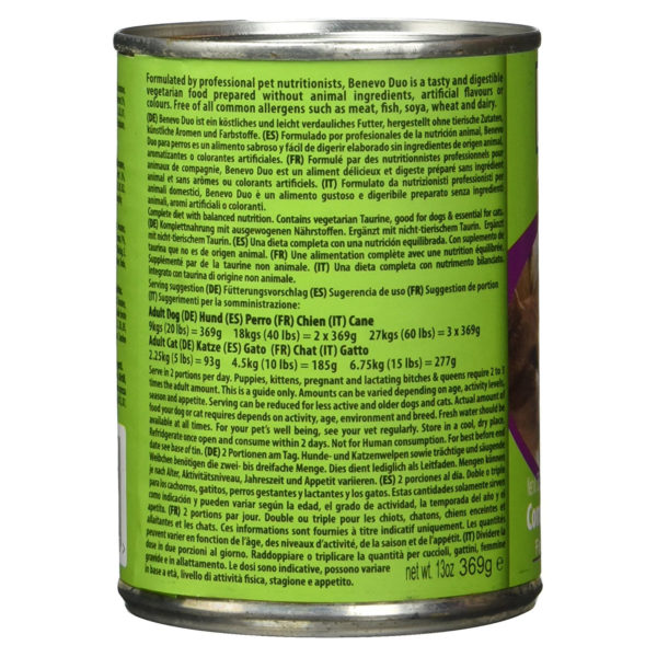 Benevo Duo Canned Vegan Cat and Dog Food Details