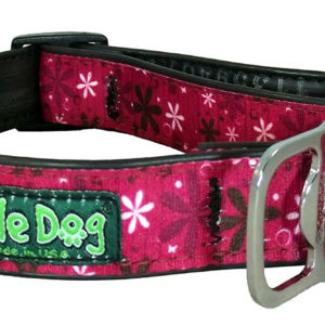 Cycle Dog Bottle Opener Eco-Friendly Recycled Dog Collar, Hot Pink Retro Flowers