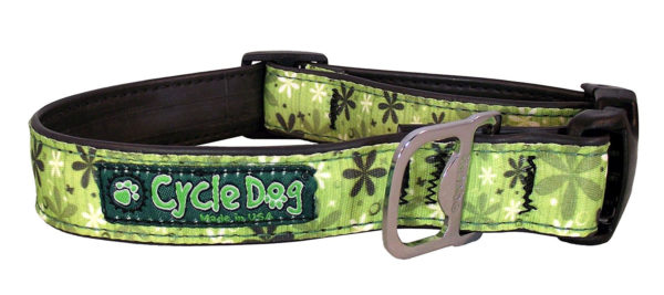 Cycle Dog Bottle Opener Eco-Friendly Recycled Dog Collar, Apple Green Retro Flowers