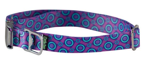 Cycle Dog Bottle Opener Dog Collar, Ecoweave Purple Blue SpaceDots Eco Friendly
