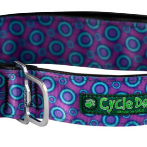 Cycle Dog Bottle Opener Dog Collar, Ecoweave Purple Blue SpaceDots Eco Friendly