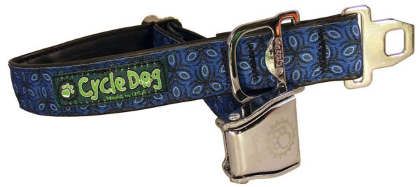 Cycle Dog Bottle Opener Eco-Friendly Recycled Dog Collar, Blue Tri-Style