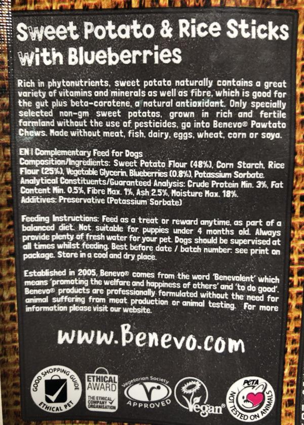 Benevo Vegan Sweet Potato Pawtato Blueberry Sticks Low Fat Gluten Free