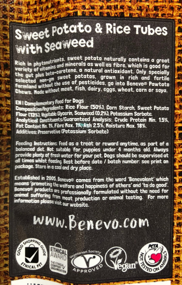 Benevo Vegan Sweet Potato & Rice Tubes with Seaweed
