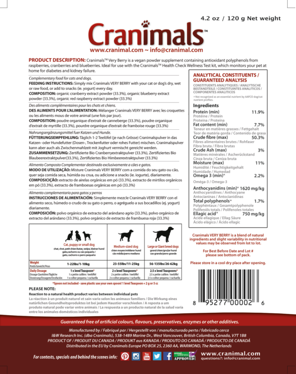 Cranimals VERY BERRY Antioxidant Organic Supplement Label
