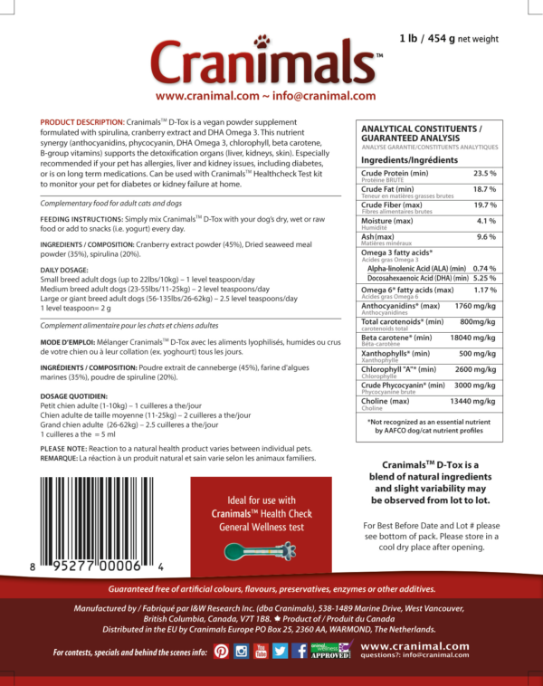 Cranimals D-TOX Spirulina Organic Supplement Label