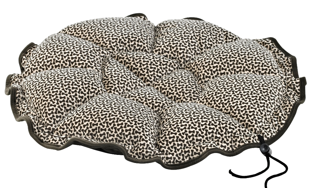 The Eco Buttercup Bed has a great adjusting feature so it can be used flat as a lounging mat or the string/toggle can be pulled to adjust the size of the opening.